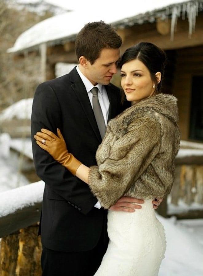 zimowy ślub płaszcz