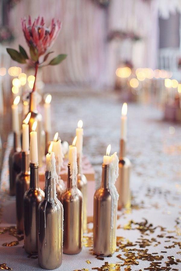 brokatowe butelki na ślub